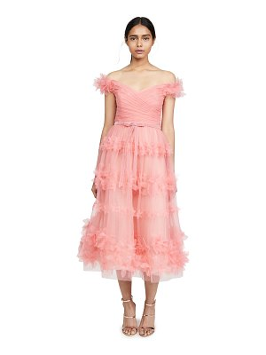 Notte by Marchesa off shoulder tea length gown
