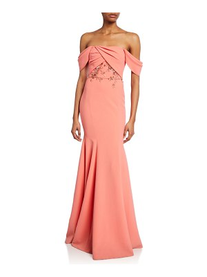 Notte by Marchesa Off-the-Shoulder Crepe Gown w/ Draped-Bodice & Beaded Embroidery