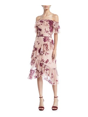 Notte by Marchesa Off-the-Shoulder Flocked Lace & Ruffle Trim Dress