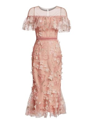 Notte by Marchesa off-the-shoulder floral illusion sheath dress