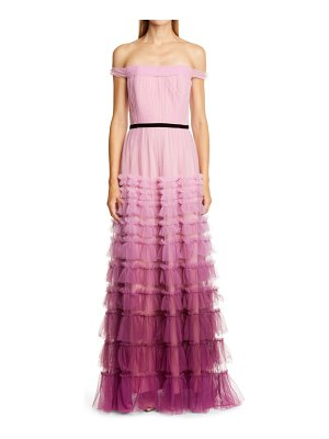 Notte by Marchesa off the shoulder ruffle tulle gown