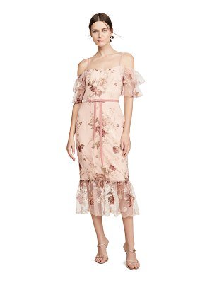 Notte by Marchesa off the shoulder tiered sleeve embroidered tea-length gown