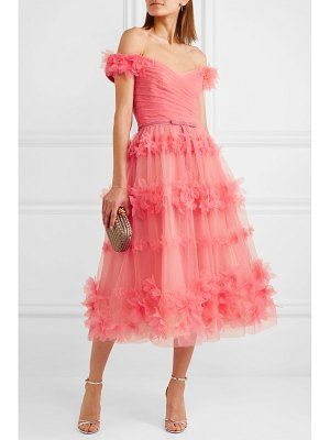 Notte by Marchesa off-the-shoulder velvet-trimmed appliquéd tulle dress