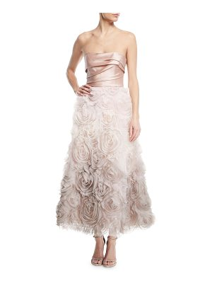 Notte by Marchesa Ombré Textured Tea Dress w/ Draped Bodice