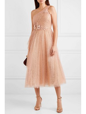 Notte by Marchesa one-shoulder appliquéd glittered tulle gown