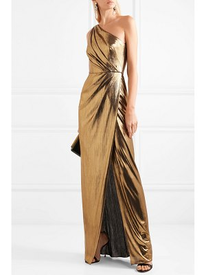 Notte by Marchesa one-shoulder draped lamé gown