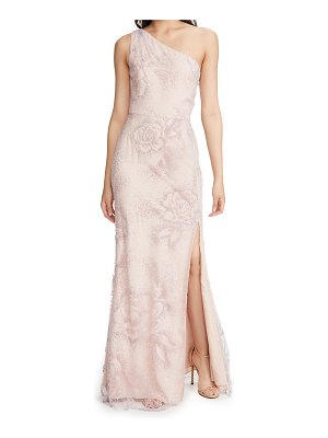 Notte by Marchesa one shoulder flocked glitter tulle gown