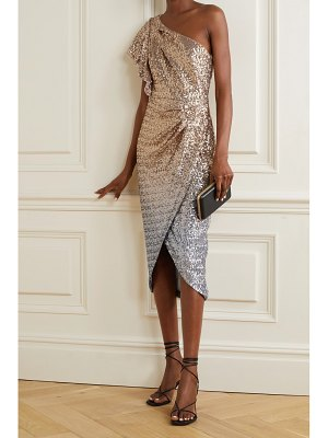 Notte by Marchesa one-shoulder ombré sequined tulle midi dress