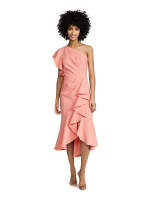 Notte by Marchesa one shoulder ruffle sleeve gown