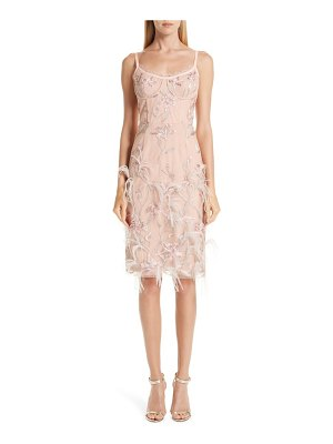 Notte by Marchesa ostrich feather trim embroidered corset dress