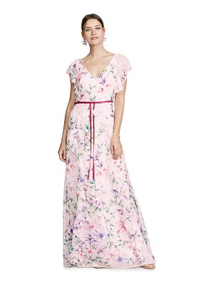 Notte by Marchesa printed burnout chiffon gown