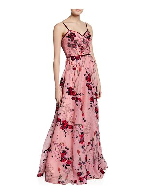 Notte by Marchesa Printed Floral-Embroidered Sleeveless Organza Gown w/ Beaded Bodice