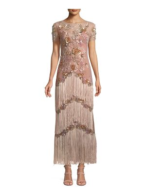 Notte by Marchesa Short-Sleeve Illusion Fringe Column Gown