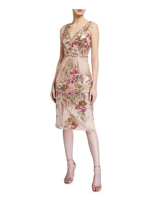 Notte by Marchesa Sleeveless Floral Embroidered V-Neck Sequin Sheath Dress
