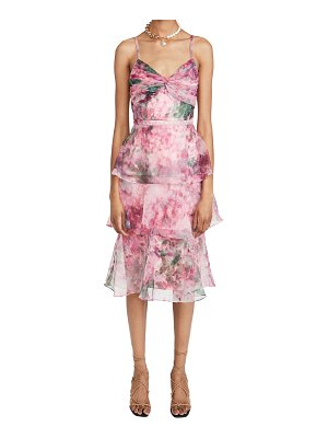 Notte by Marchesa sleeveless floral organza tea length gown