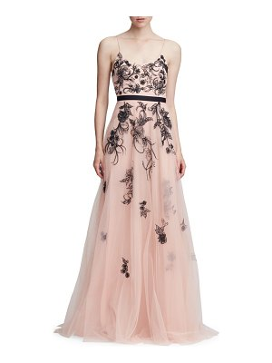 Notte by Marchesa sleeveless metallic floral beaded tulle a-line gown
