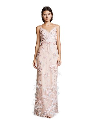 Notte by Marchesa sleeveless v neck feather embroidered gown