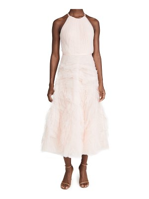 Notte by Marchesa textured tulle halter tea length dress