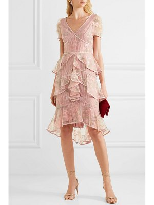 Notte by Marchesa tiered satin-trimmed embroidered tulle dress