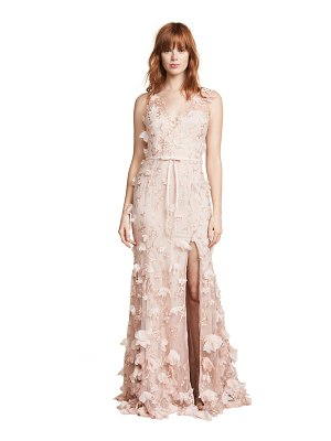 Notte by Marchesa v neck 3d floral dress