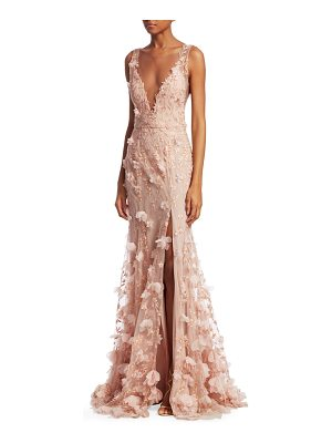 NOTTE BY MARCHESA V-Neck Floral Front Slit Mermaid Gown
