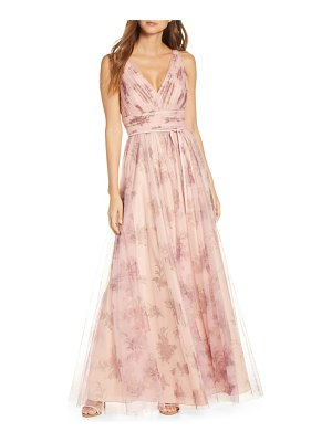 Notte by Marchesa v-neck floral tulle bridesmaid gown
