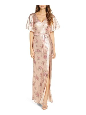 Notte by Marchesa flutter sleeve sequin a-line gown
