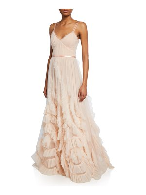 Notte by Marchesa V-Neck Sleeveless Textured Tulle Gown w/ Cascading Ruffles & Lace