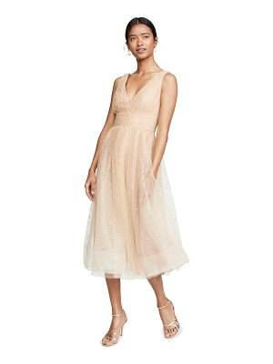 Notte by Marchesa v neck tulle glitter gown