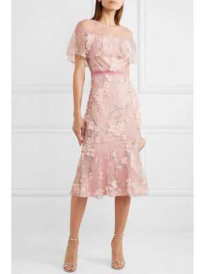Notte by Marchesa velvet-trimmed appliquéd embroidered tulle midi dress