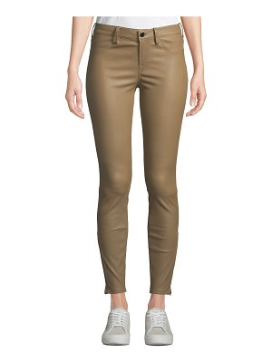 Nour Hammour Mid-Rise Cropped Skinny Lambskin Leather Jeans