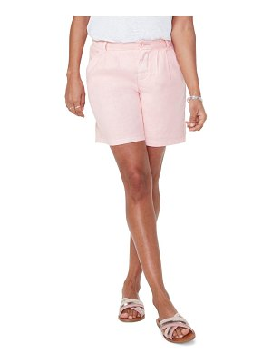 NYDJ relaxed pleated stretch linen blend shorts