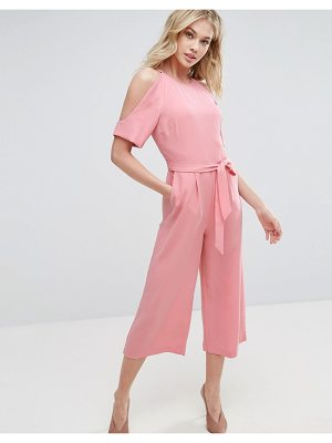 OASIS Exposed Shoulder Tie Waist Jumpsuit