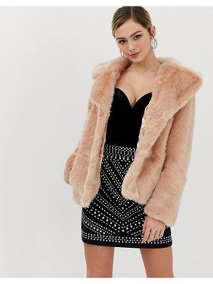 Oasis faux fur jacket in pink