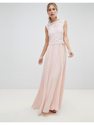Oasis occasion lace bodice pleated maxi dress-pink