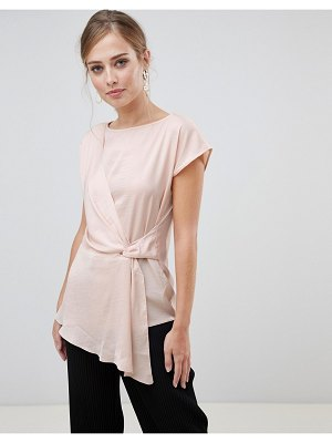 Oasis satin drape front top in pink