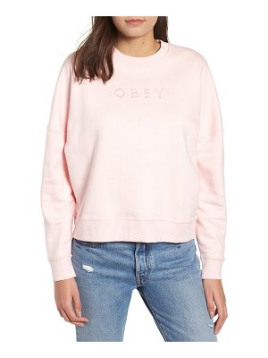 Obey annie logo cotton blend crewenck sweatshirt