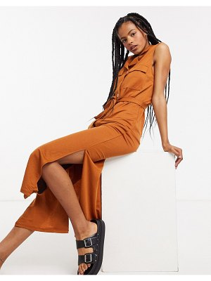 Object maxi shirt dress with pocket detail and side splits in rust-brown