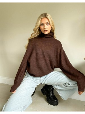 Object roll neck sweater in brown