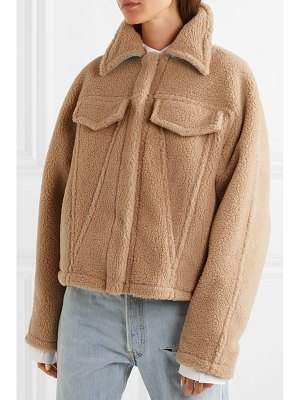 OFF-WHITE bear denim-trimmed faux shearling jacket