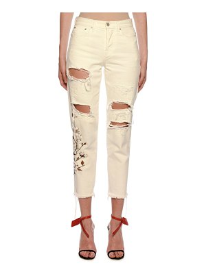OFF-WHITE Floral-Embroidered Ripped Boyfriend Jeans