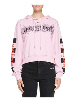 OFF-WHITE Taxi Cropped Oversized Hooded Sweatshirt