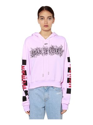 Off white Taxi print hooded cotton crop sweatshirt
