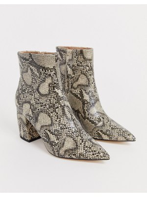 Office aloud pointed block heel ankle boots in snake
