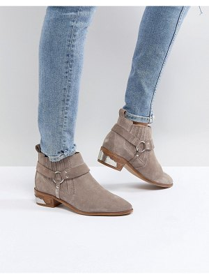 Office atlas taupe suede western ankle boots
