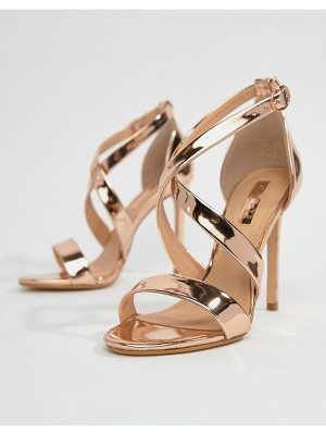 Office harper rose gold strappy heeled sandals