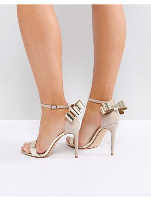 Office harriet gold mix bow detail heeled sandals