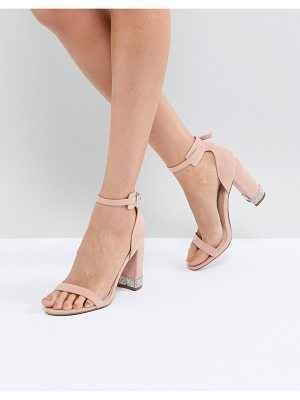 OFFICE Hip Blush Embellished Block Heeled Sandals