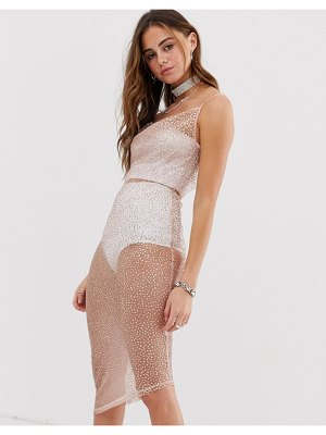 One Above Another asymmetric cowl neck cami dress in glitter fabric
