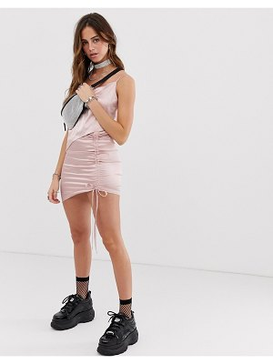 One Above Another asymmetric skirt with ruching in satin two-piece
